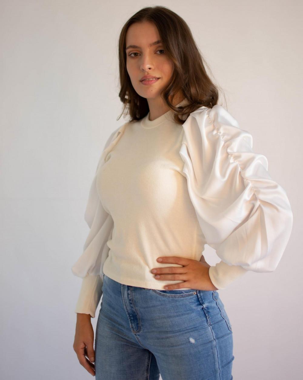 Bluzka damska elegancka z bufiastymi rękawami Joanna 1