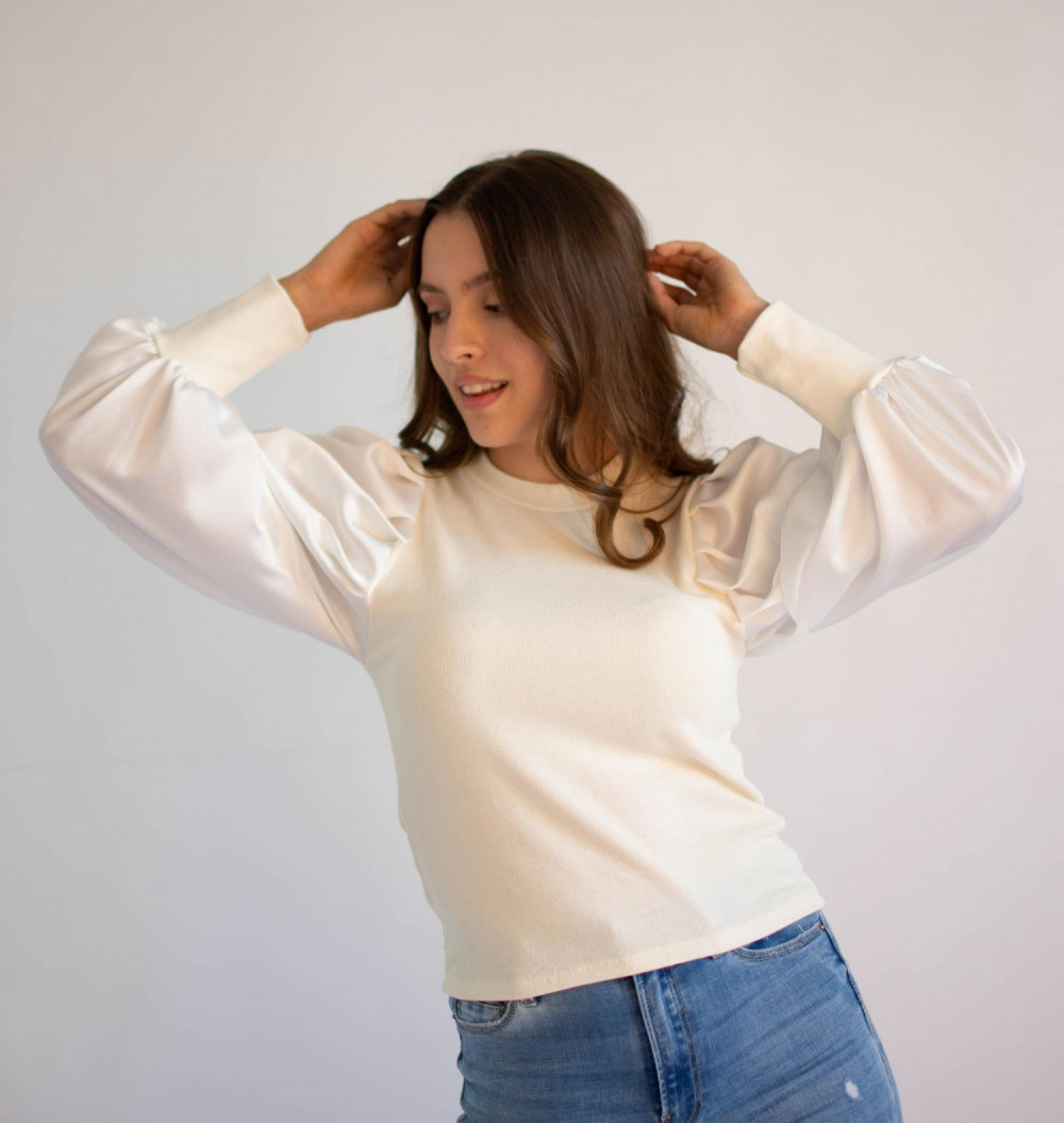 Bluzka damska elegancka z bufiastymi rękawami Joanna 2