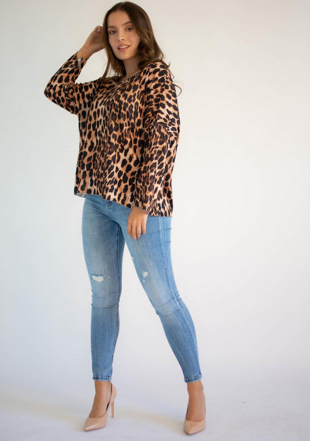 Bluzka damska z długim rękawem panterka Laura 3