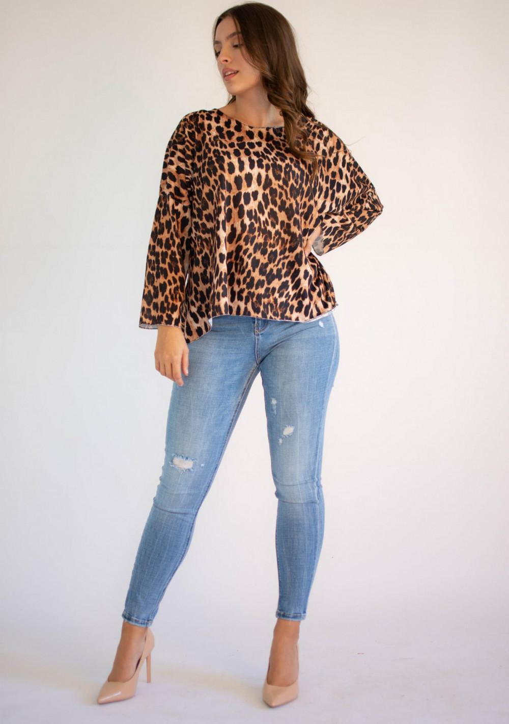 Bluzka damska z długim rękawem panterka Laura 4