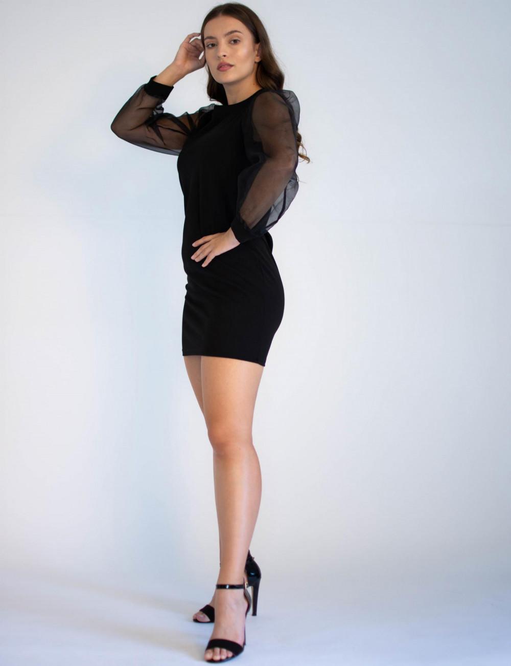 Czarna sukienka z półprzeźroczystymi rękawami Alice 2