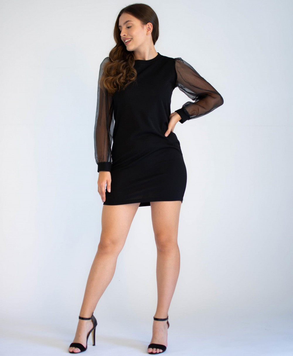 Czarna sukienka z półprzeźroczystymi rękawami Alice 1