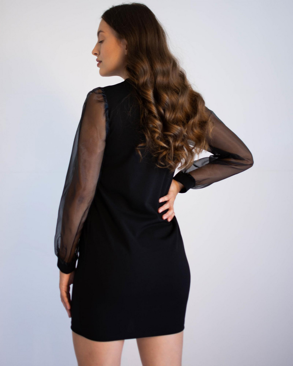 Czarna sukienka z półprzeźroczystymi rękawami Alice 3
