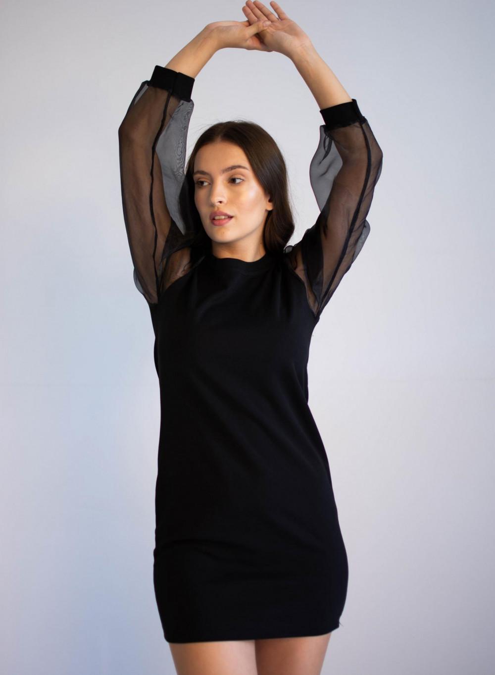 Czarna sukienka z półprzeźroczystymi rękawami Alice 4