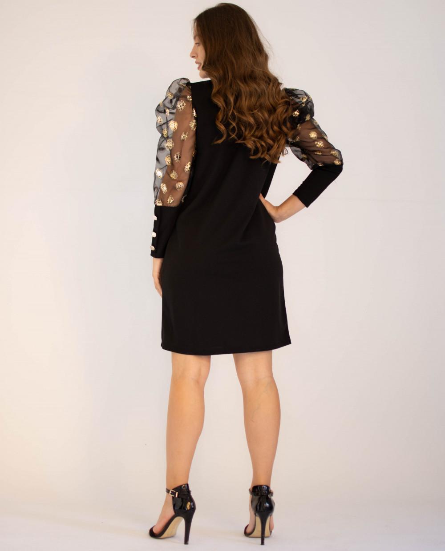 Elegancka czarna sukienka z długim półprzeźroczystym rękawem Jasmine 1
