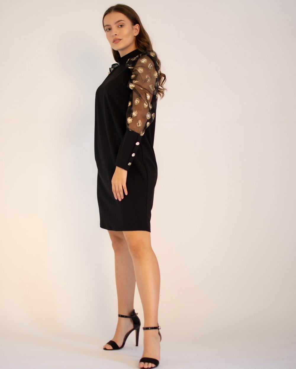 Elegancka czarna sukienka z długim półprzeźroczystym rękawem Jasmine 2