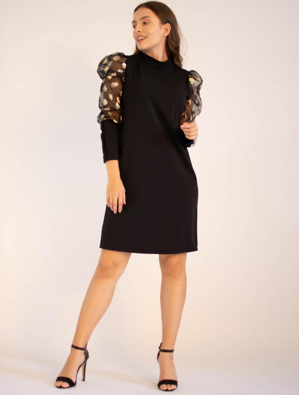 Elegancka czarna sukienka z długim półprzeźroczystym rękawem Jasmine 3