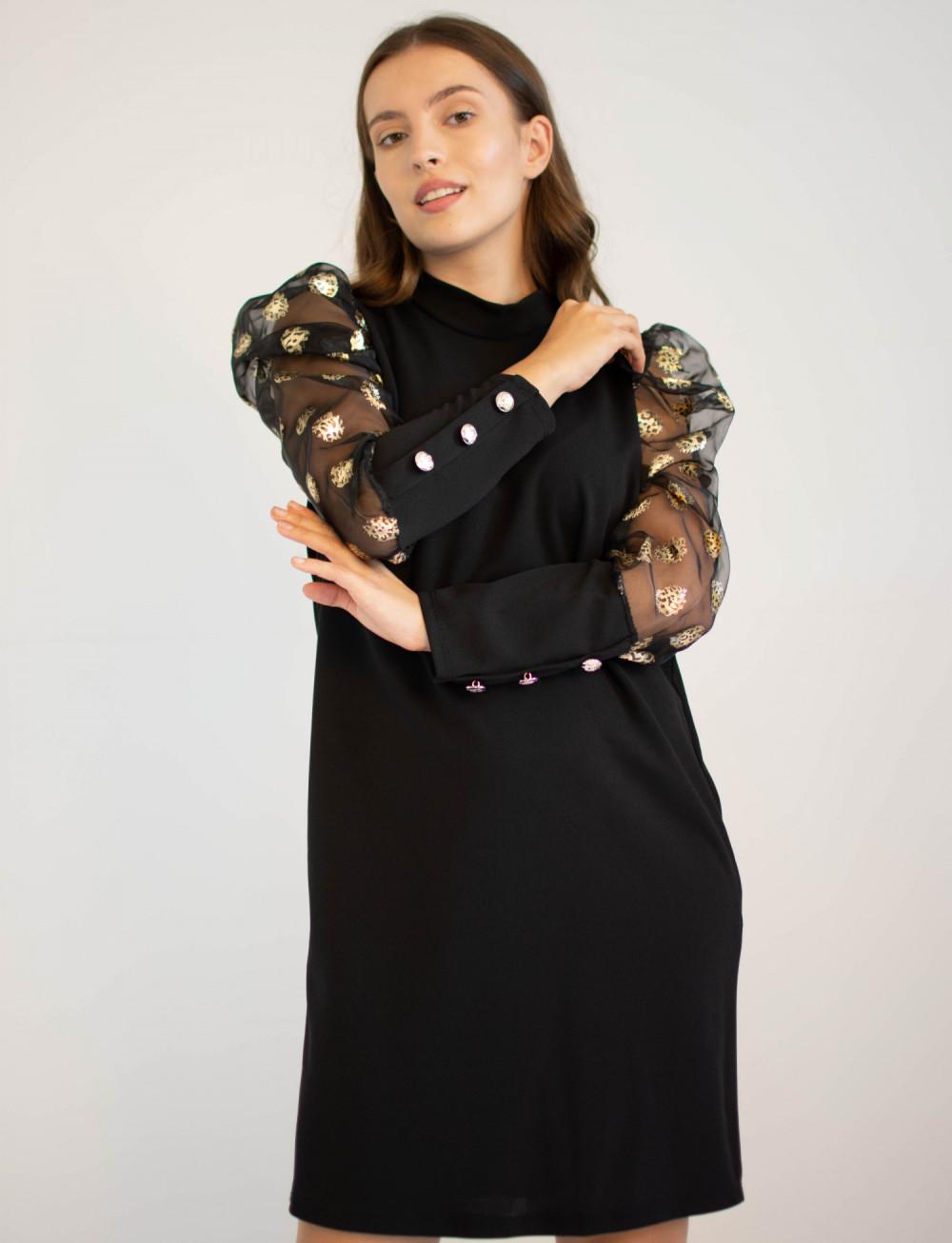 Elegancka czarna sukienka z długim półprzeźroczystym rękawem Jasmine 4