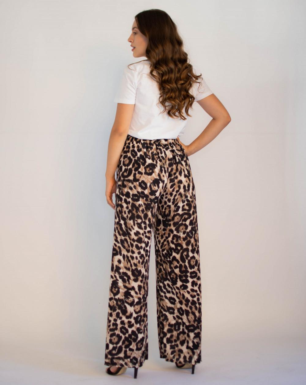 Eleganckie damskie spodnie panterka z wiązaniem Ayes 1