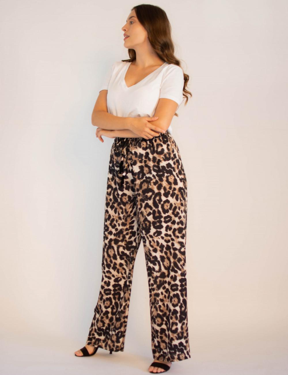 Eleganckie damskie spodnie panterka z wiązaniem Ayes 3