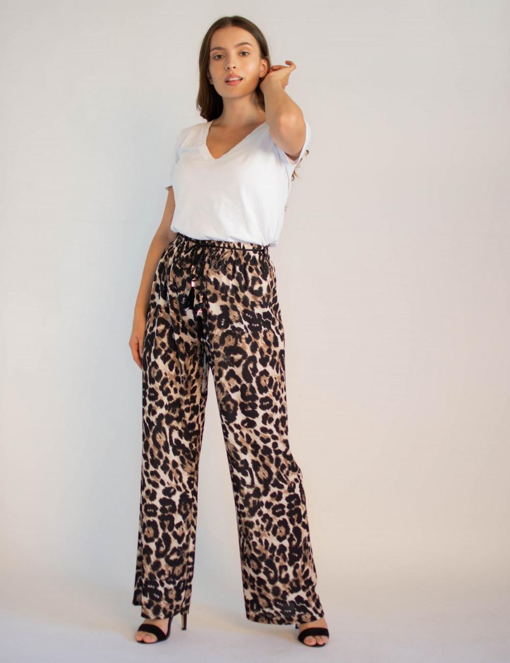 Eleganckie damskie spodnie panterka z wiązaniem Ayes 4