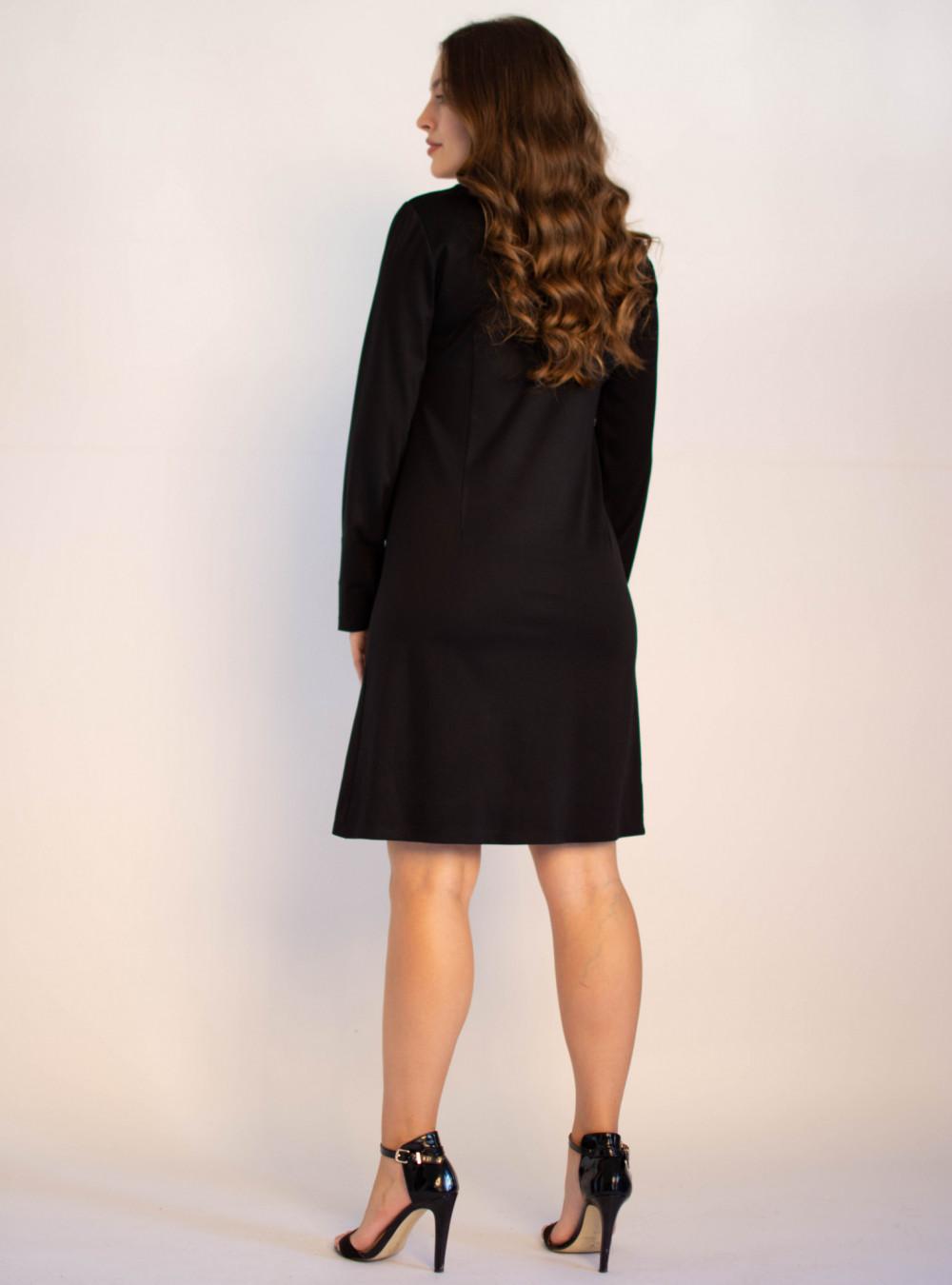 Klasyczna czarna sukienka O-Neck z długim rękawem Vera 1