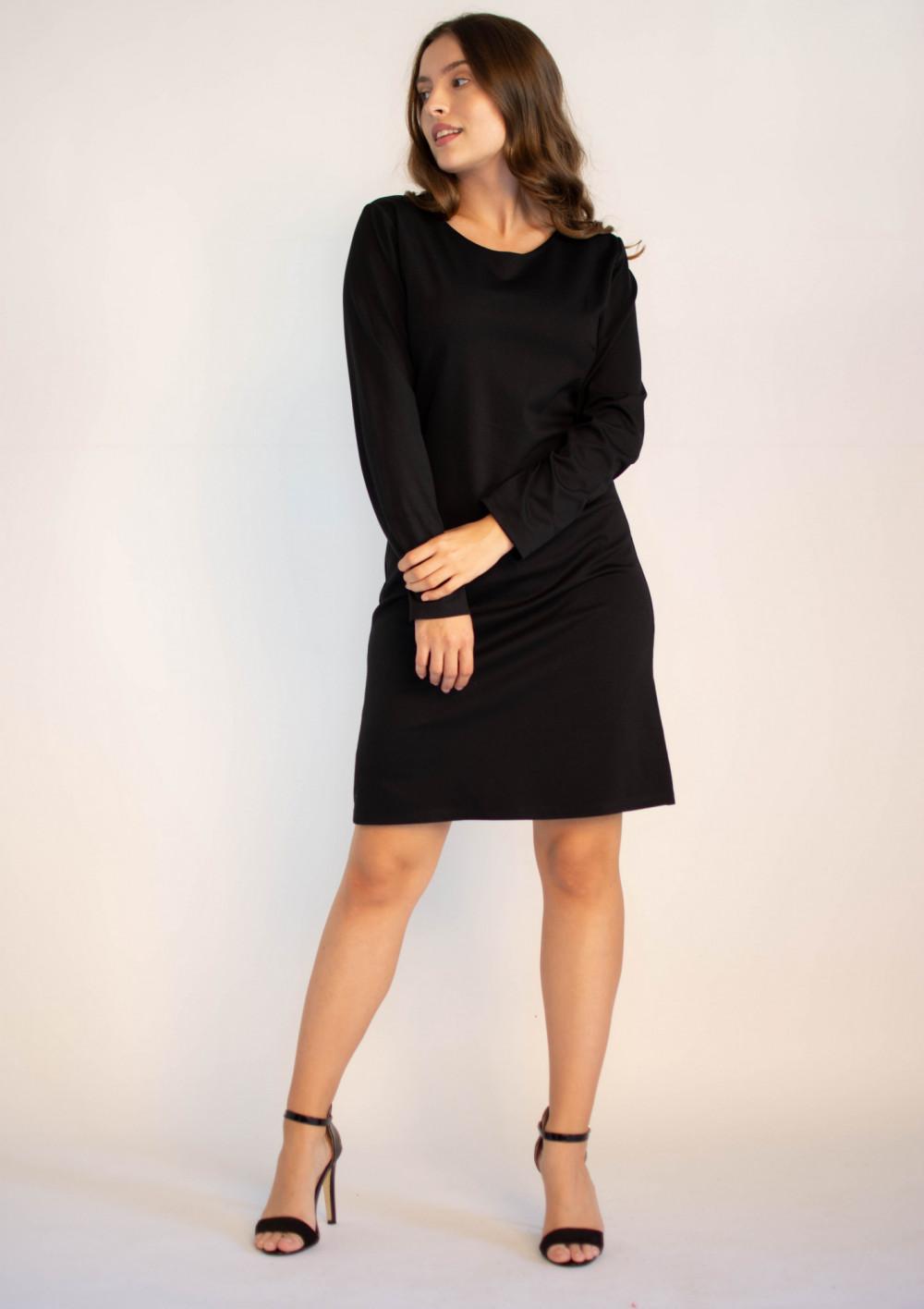 Klasyczna czarna sukienka O-Neck z długim rękawem Vera 3