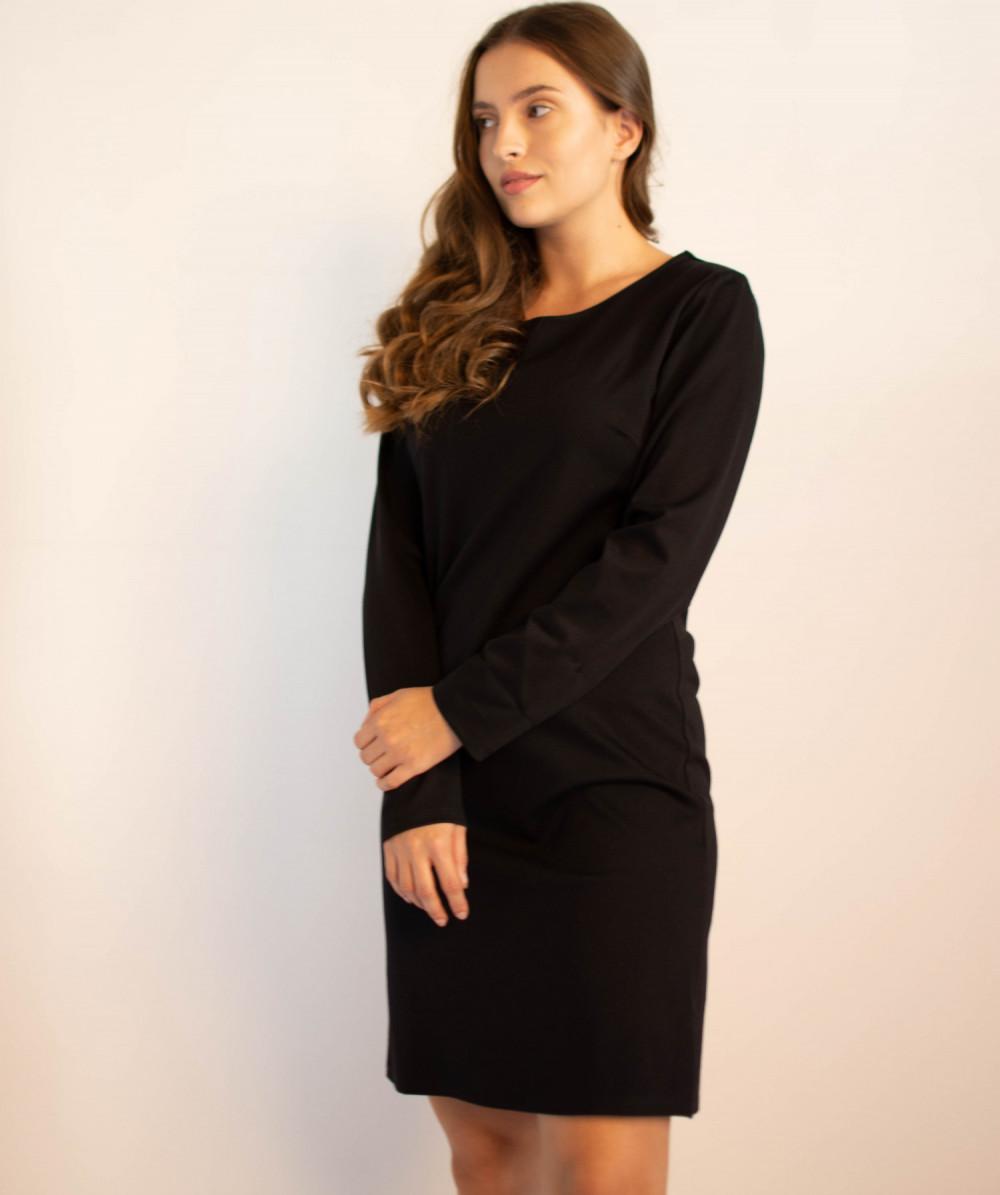 Klasyczna czarna sukienka O-Neck z długim rękawem Vera 4