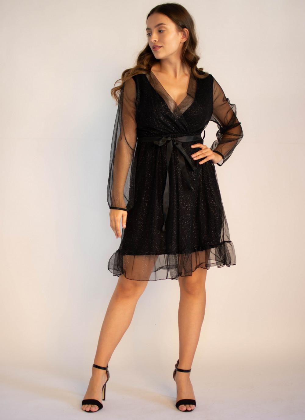 Sukienka czarna imprezowa z tiulem Sarah 2
