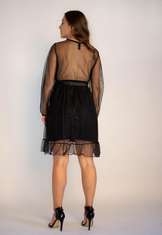 Sukienka czarna imprezowa z tiulem Sarah 4