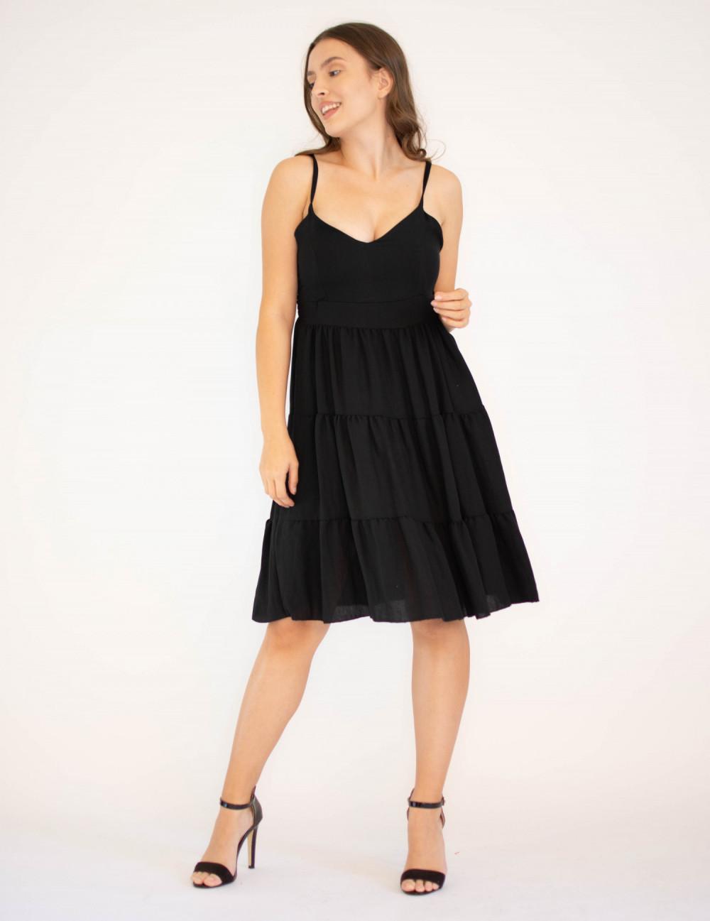 Sukienka czarna z falbankami Beth 2
