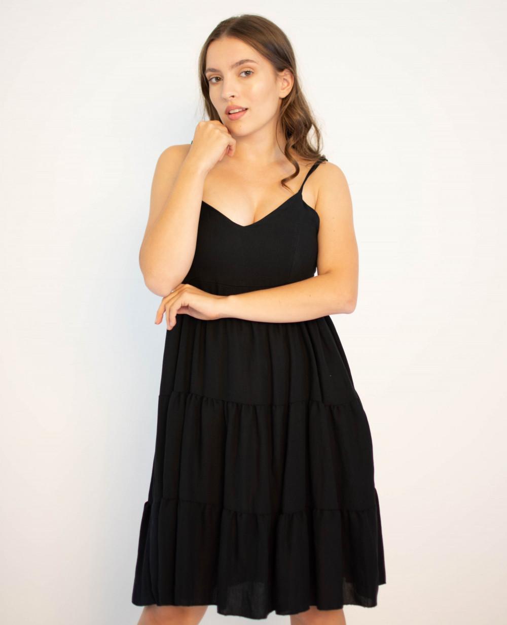 Sukienka czarna z falbankami Beth 4