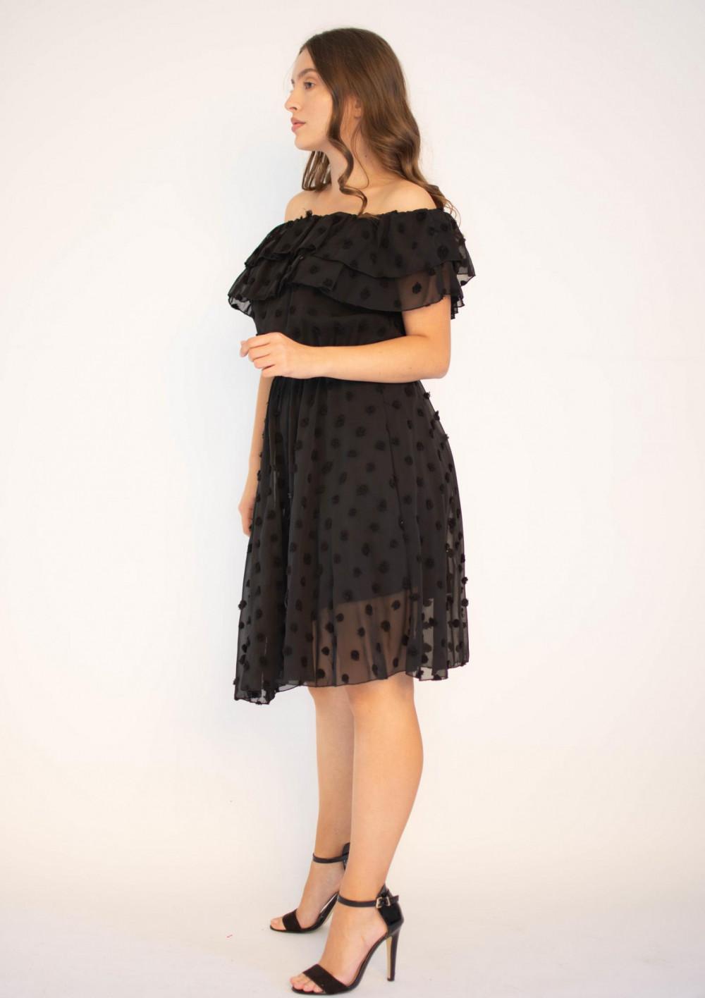 Sukienka hiszpanka z tiulem i kropkami Amelia 2