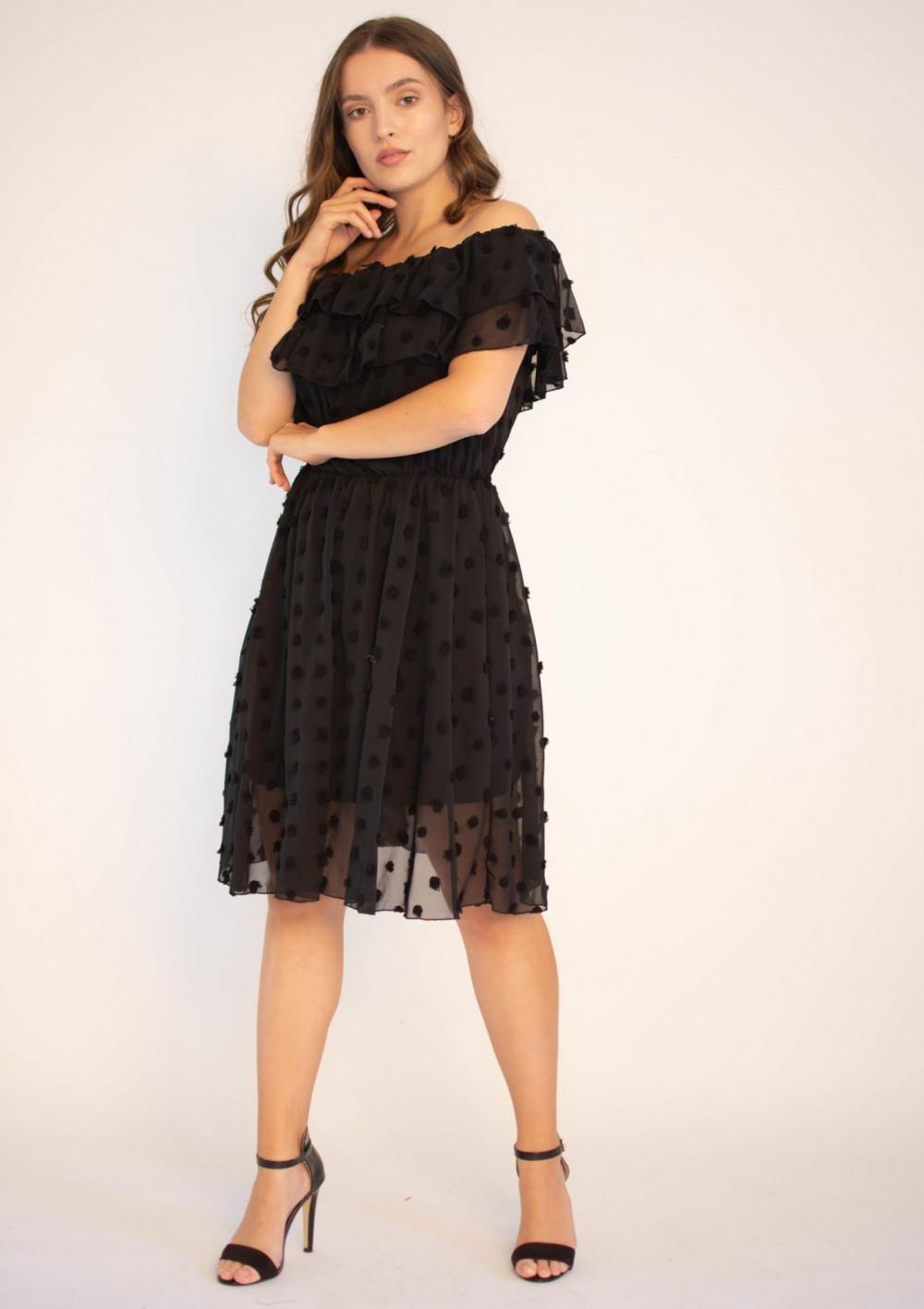 Sukienka hiszpanka z tiulem i kropkami Amelia 3