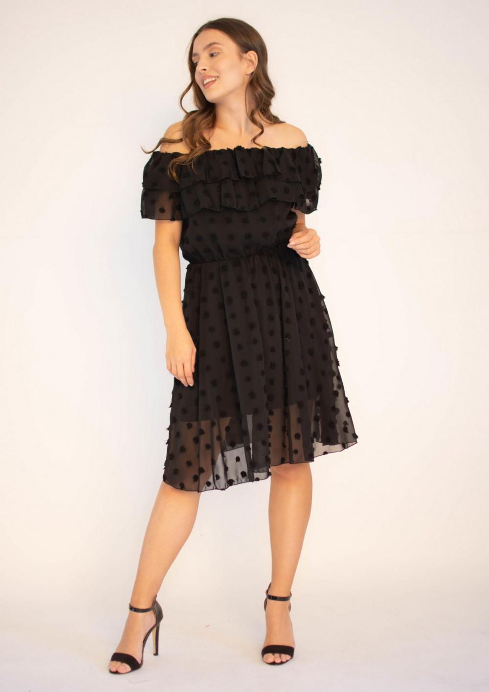 Sukienka hiszpanka z tiulem i kropkami Amelia 4