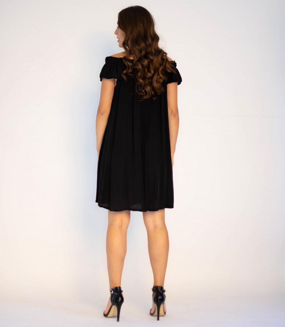 Sukienka klasyczna czarna midi z odkrytymi rękawami Camille 3