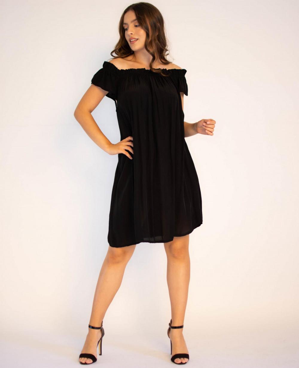 Sukienka klasyczna czarna midi z odkrytymi rękawami Camille 4