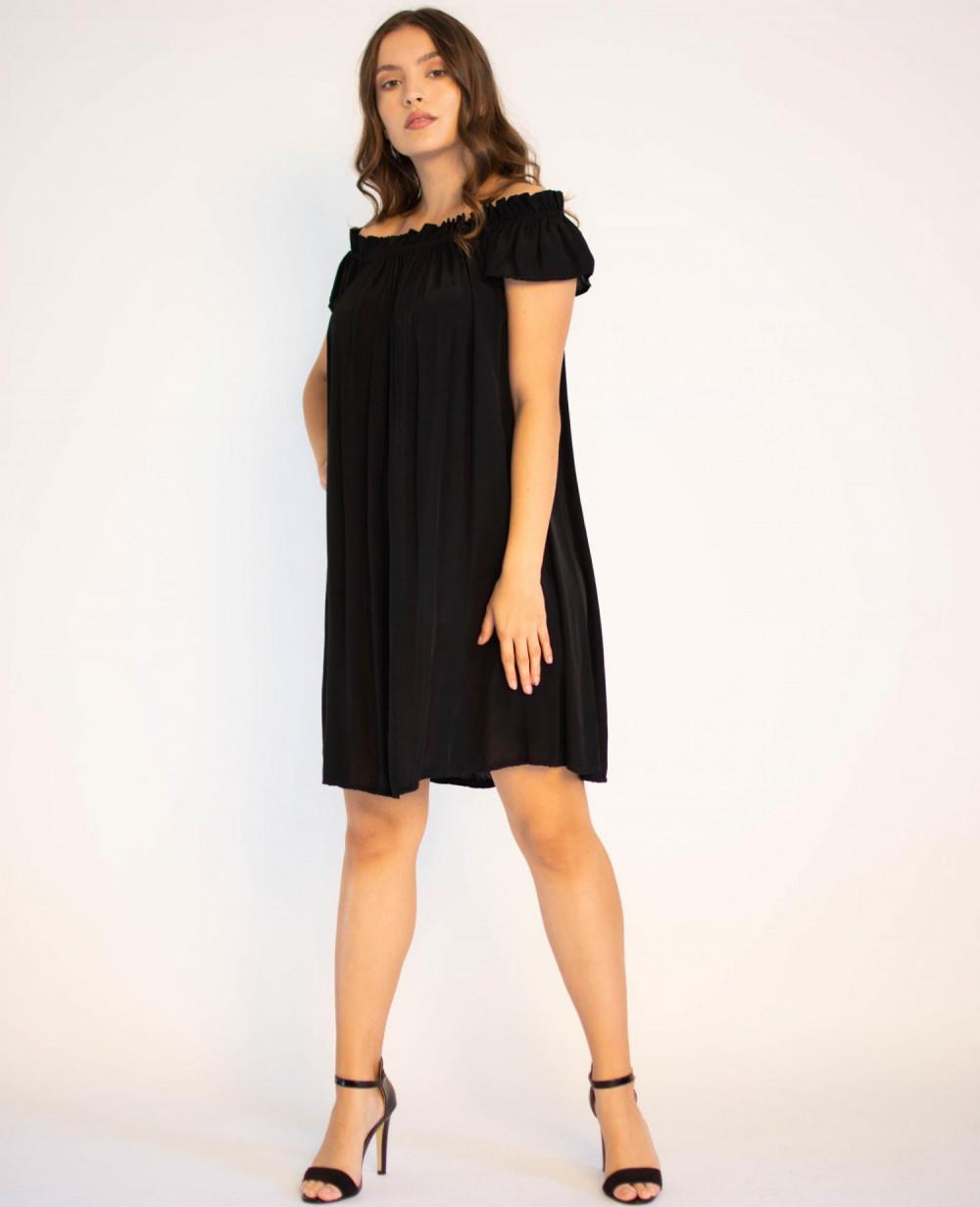 Sukienka klasyczna czarna midi z odkrytymi rękawami Camille 1