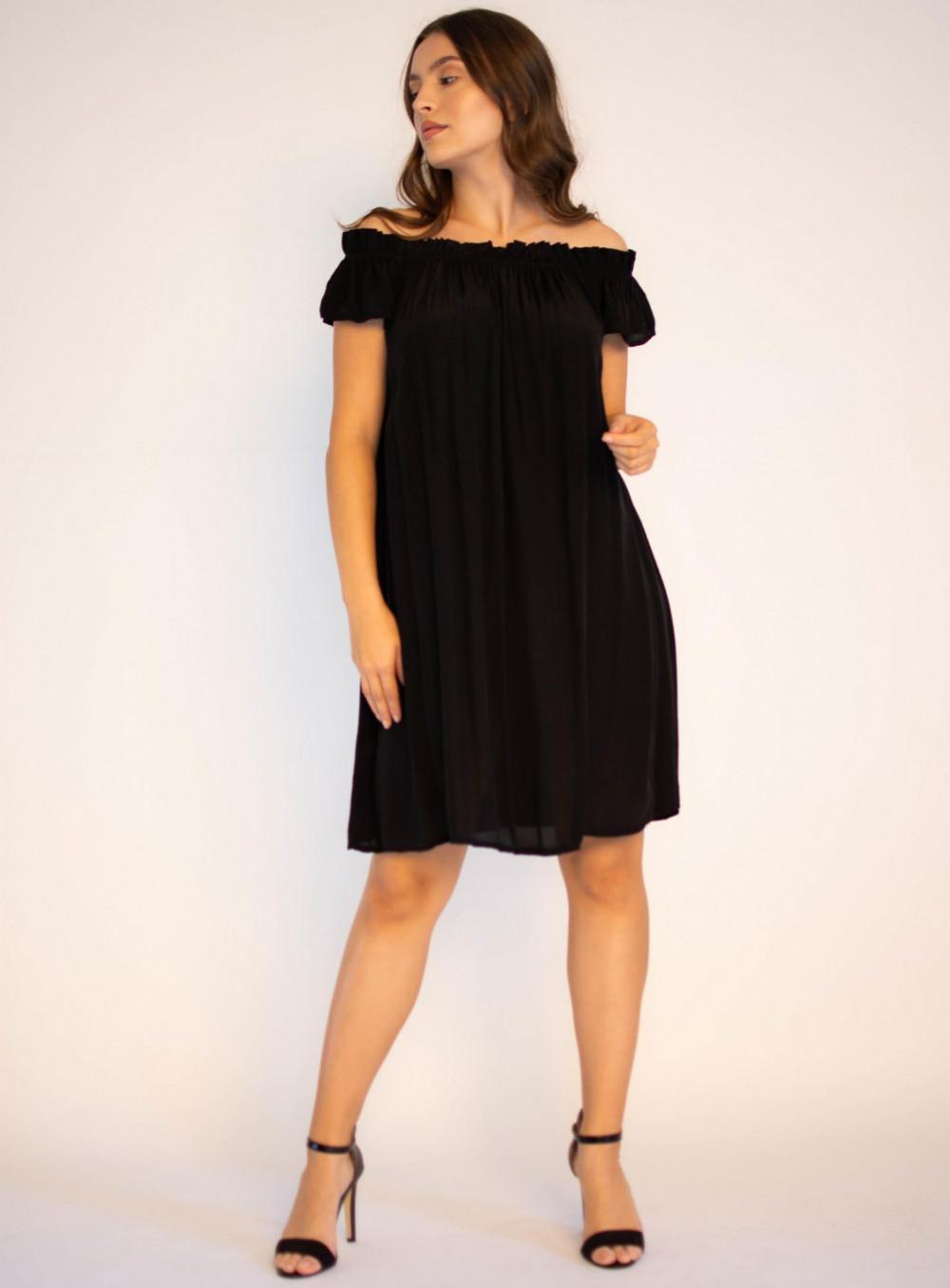 Sukienka klasyczna czarna midi z odkrytymi rękawami Camille 2