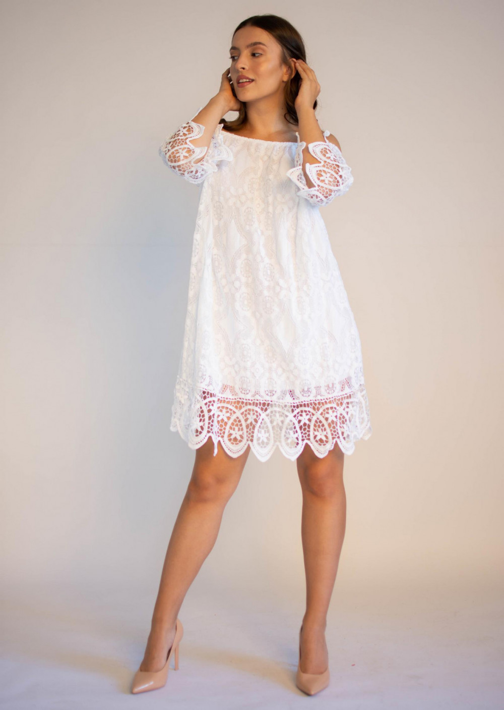 Sukienka koronkowa biała hiszpanka Alicia 4