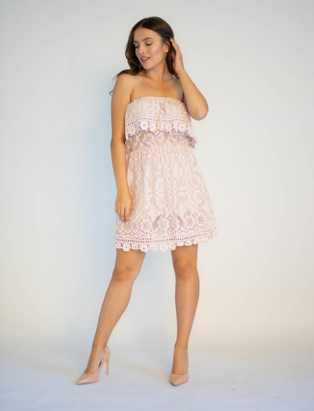 Sukienka koronkowa hiszpanka różowa Kathes 3
