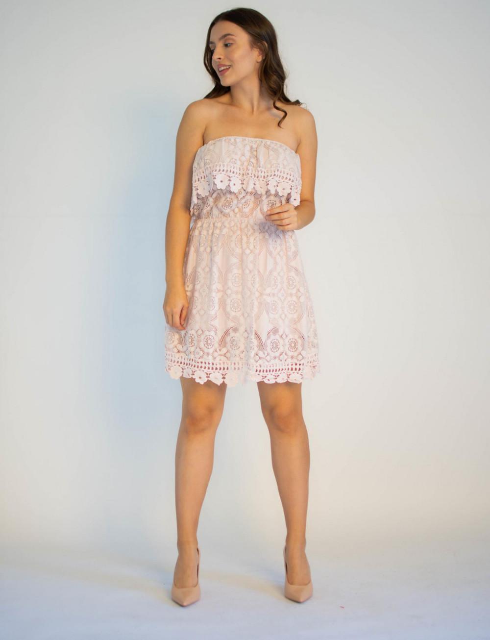Sukienka koronkowa hiszpanka różowa Kathes 4