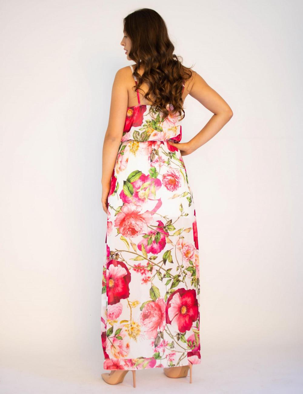 Sukienka maxi przekładana z falbanką kwiatowa Dorothy 1
