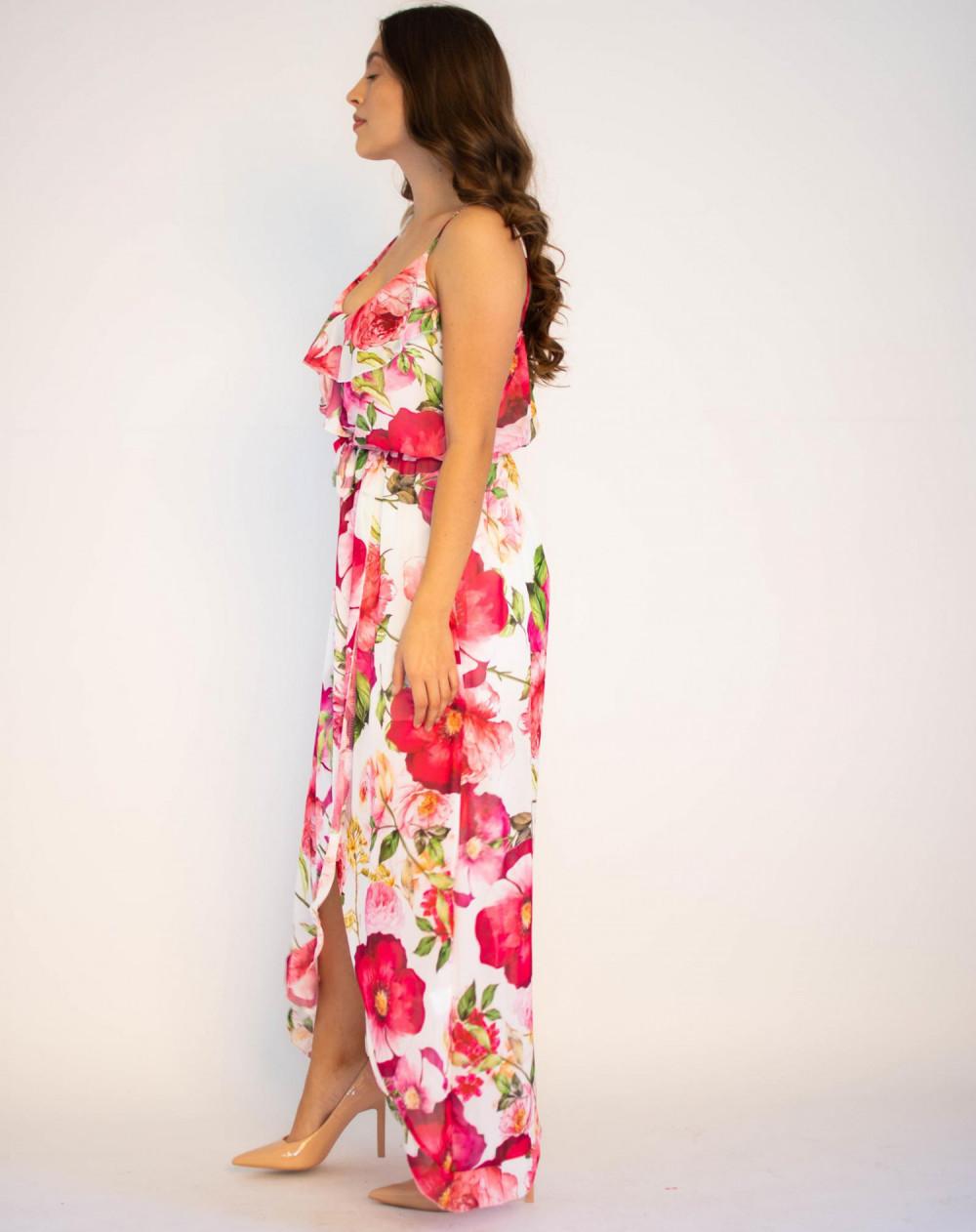 Sukienka maxi przekładana z falbanką kwiatowa Dorothy 2