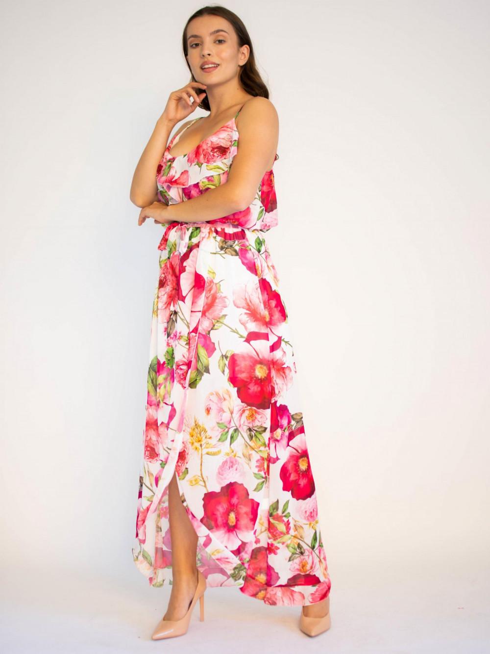 Sukienka maxi przekładana z falbanką kwiatowa Dorothy 3