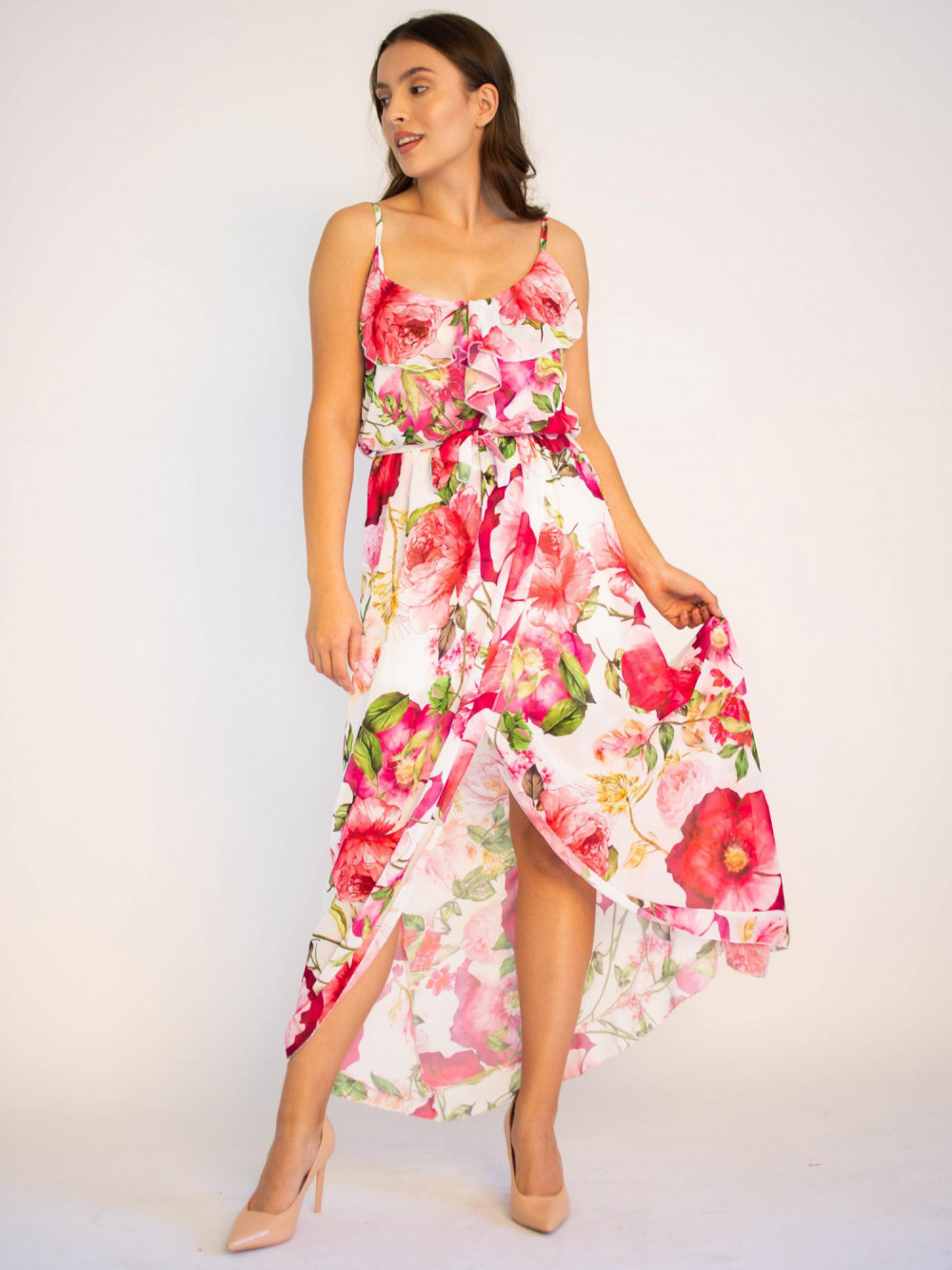 Sukienka maxi przekładana z falbanką kwiatowa Dorothy 4