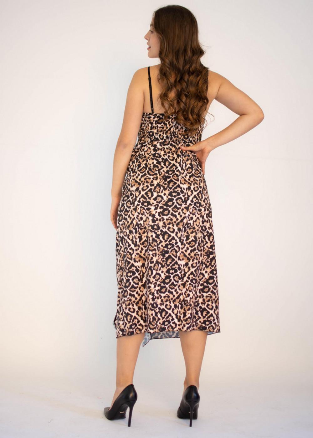 Sukienka na ramiączkach w panterkę maxi Tina 1