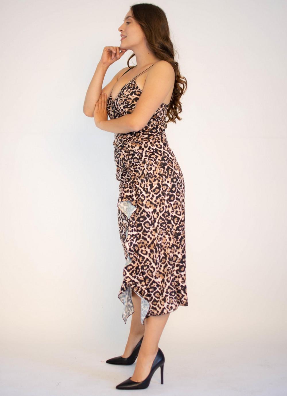 Sukienka na ramiączkach w panterkę maxi Tina 2