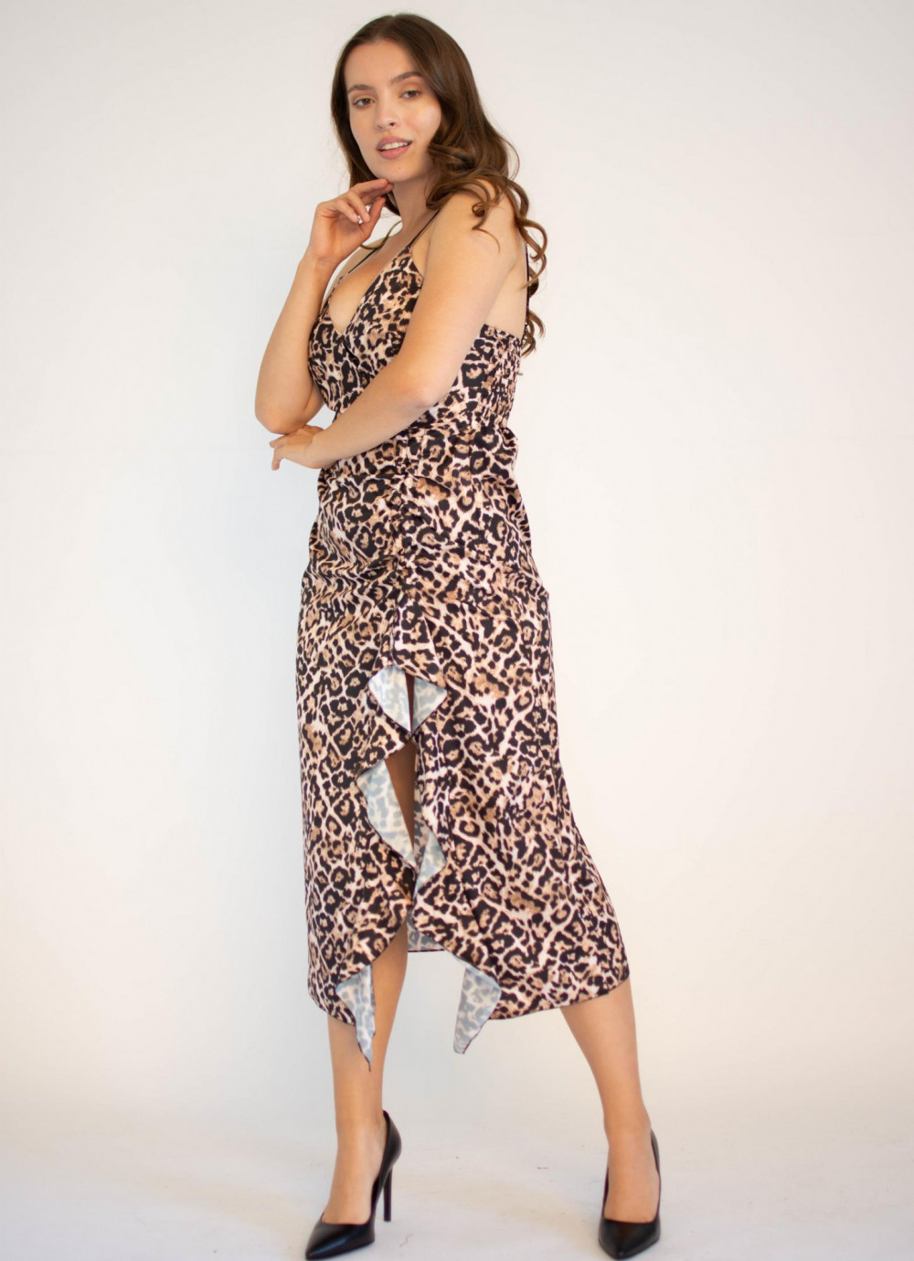 Sukienka na ramiączkach w panterkę maxi Tina 3