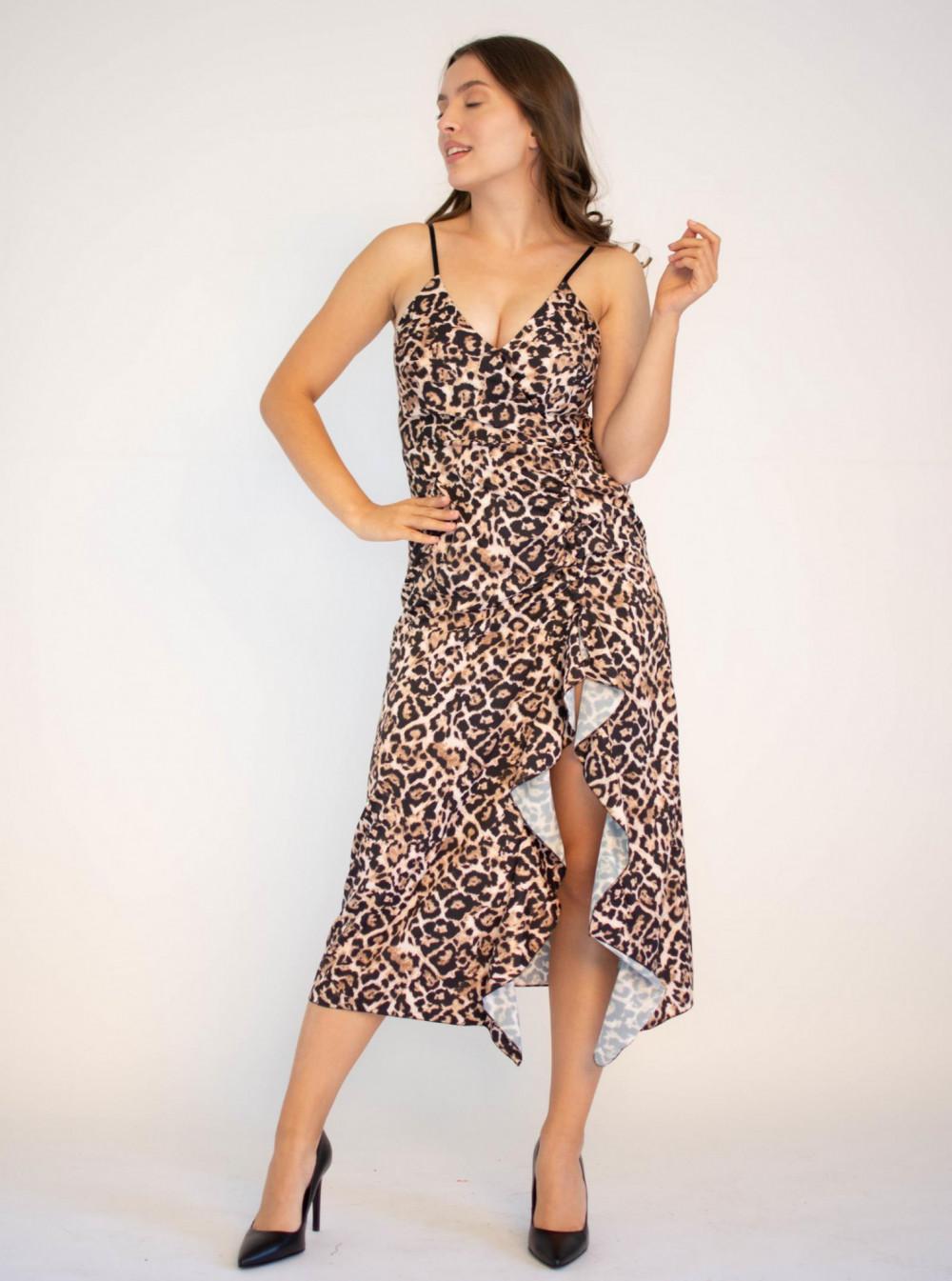Sukienka na ramiączkach w panterkę maxi Tina 4