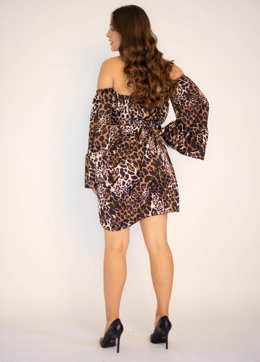 Sukienka panterka z odkrytymi ramionami Patty 1