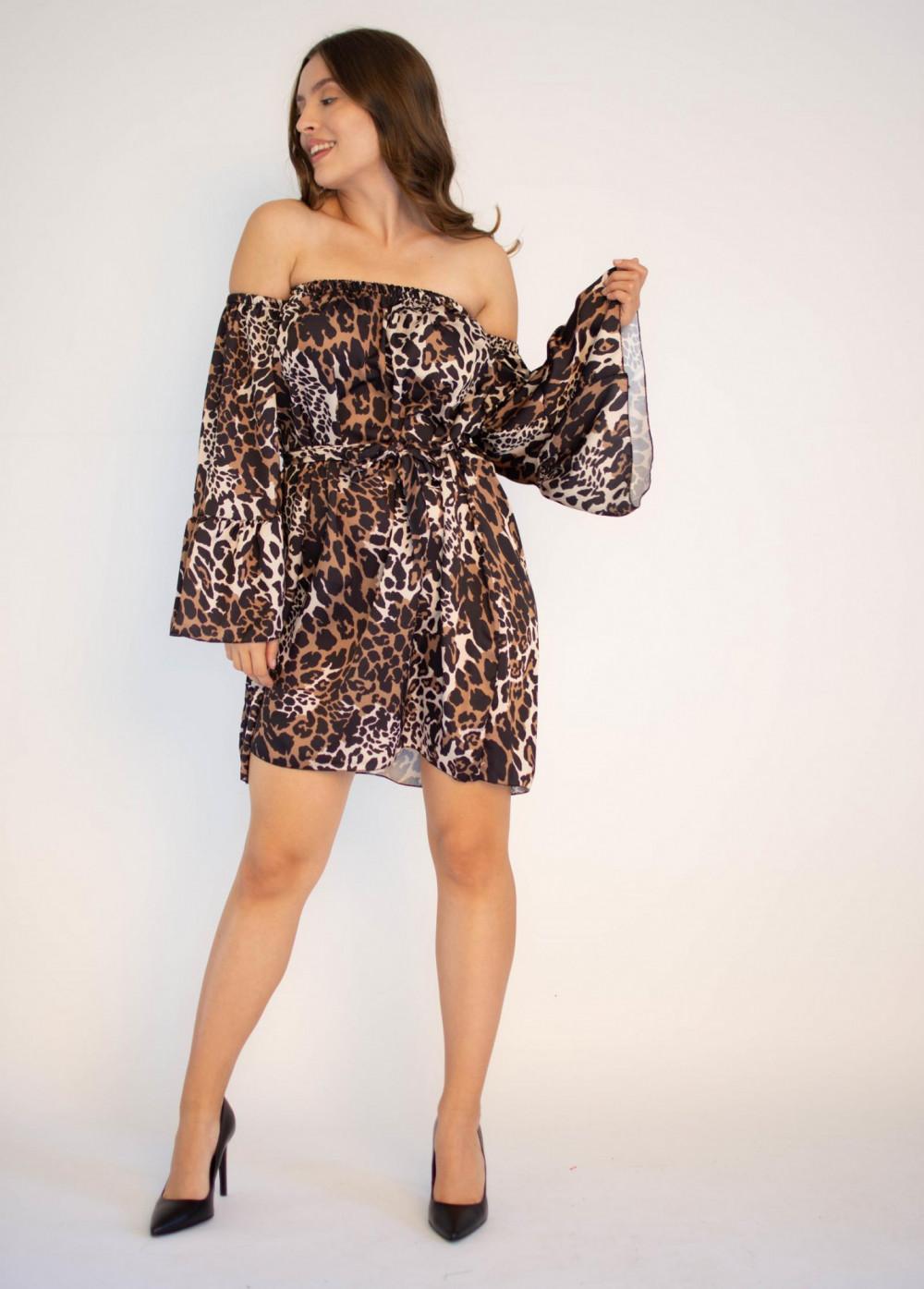 Sukienka panterka z odkrytymi ramionami Patty 3