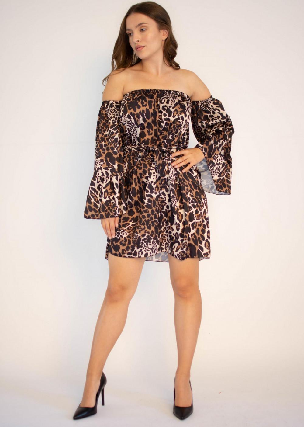 Sukienka panterka z odkrytymi ramionami Patty 4