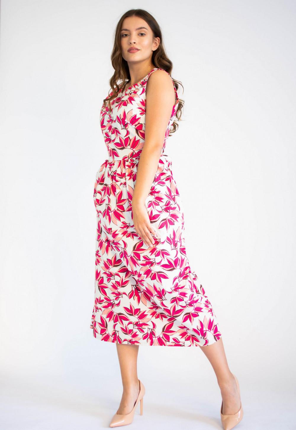 Sukienka przekładana midi kwiatowa Mias 2
