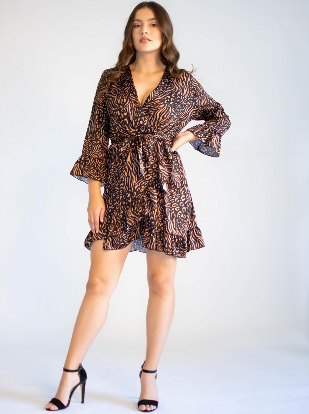 Sukienka przekładana z falbankami we wzory Sofie 1