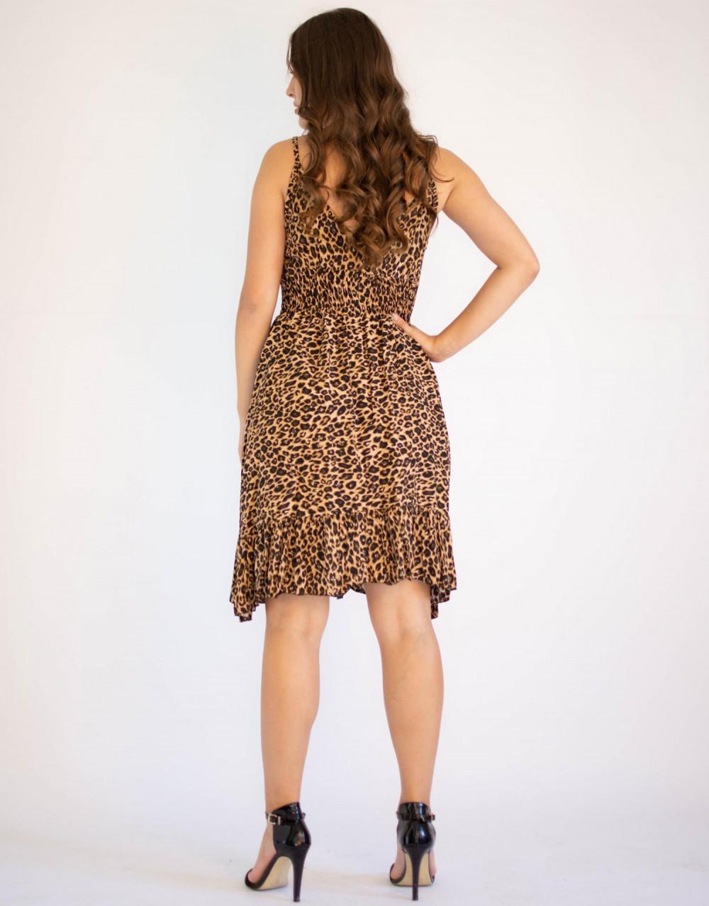Sukienka seksowana z falbanką panterka Molly 1