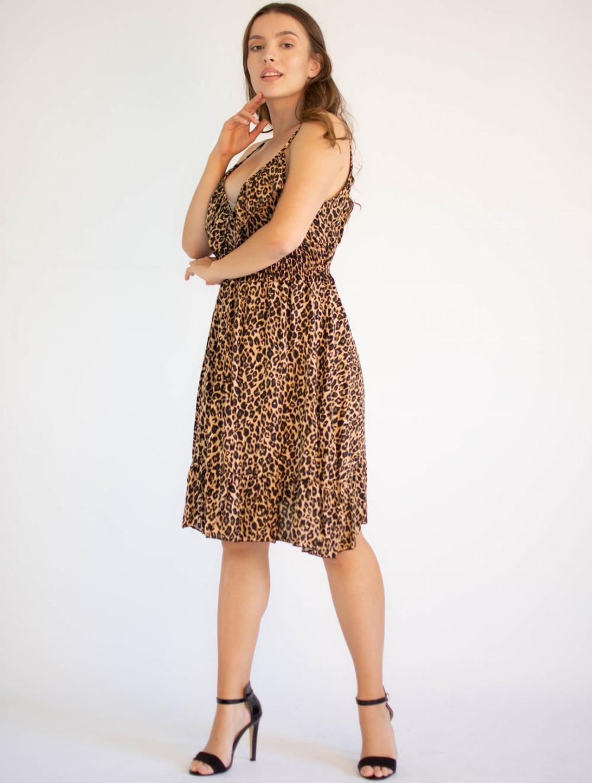 Sukienka seksowana z falbanką panterka Molly 3