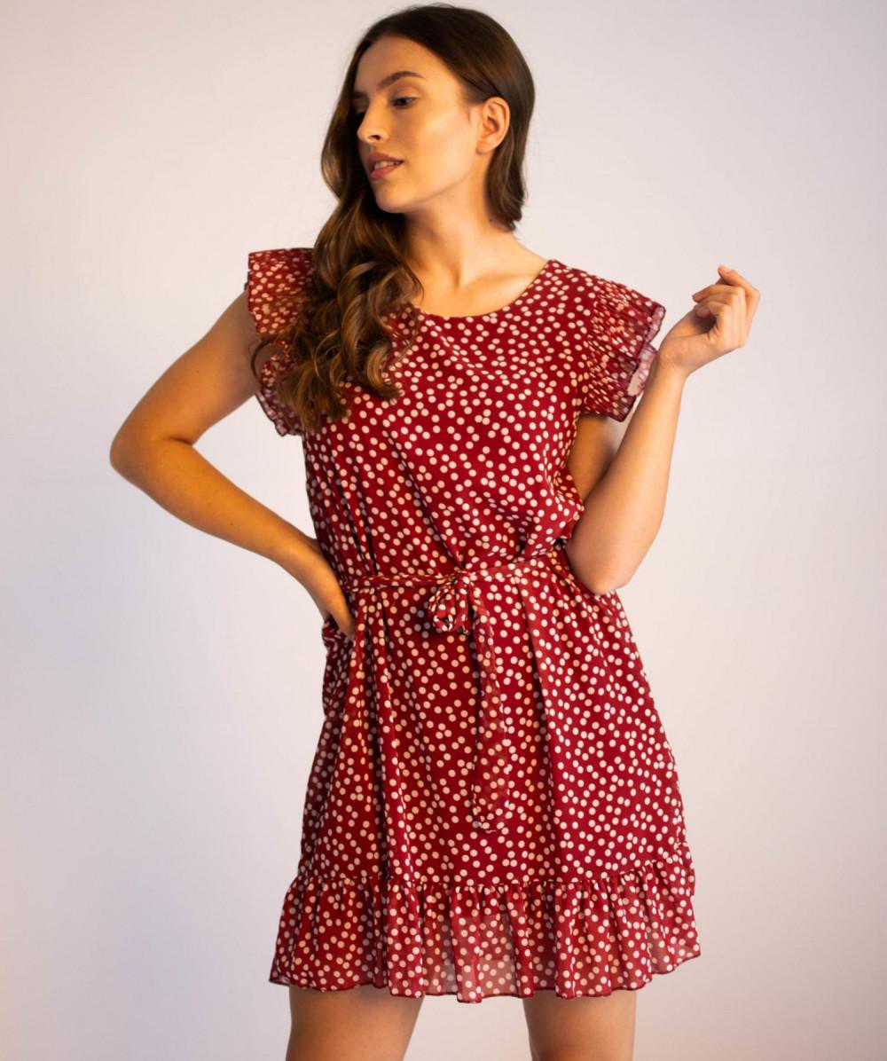 Sukienka z falbankami w kropki Emous 4