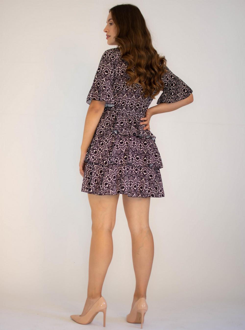 Sukienka z falbankami z motywem karty pik Susanne 1