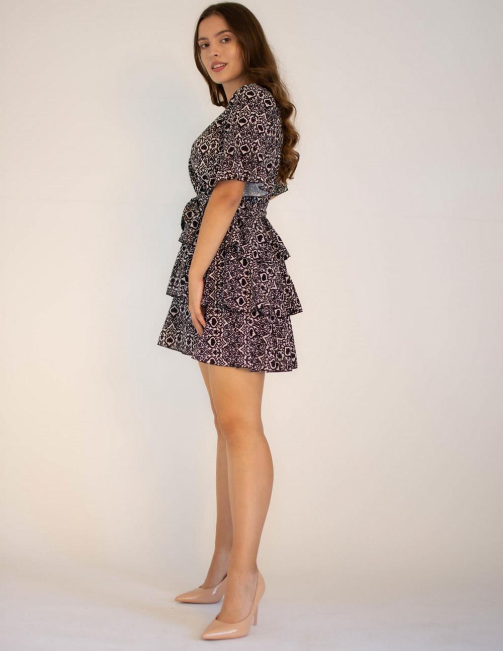 Sukienka z falbankami z motywem karty pik Susanne 2